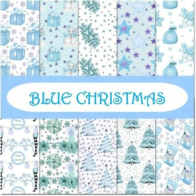 BLUE CHRISTMAS SCRAPBOOK PAPER - 10 x A4 pages.