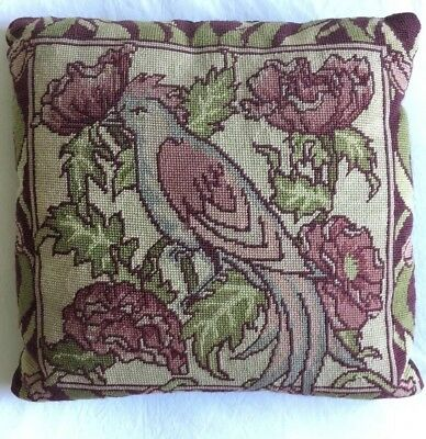VINTAGE Lovely Floral Bird Beautiful Embroidered Needlepoint Tapestry CUSHION