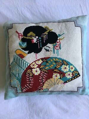 VINTAGE  Beautiful Japanese Lady Embroidered Tapestry Retro CUSHION Boho Chic