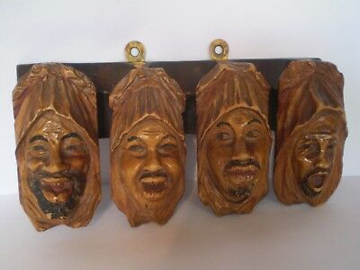 Stunning Antique Carved Arabs Heads Design Black Forest Style Pipe Rest