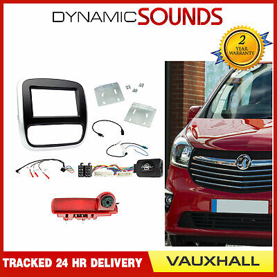Double Din Car Stereo Fascia Fitting Kit With Reverse Camera for Vauxhall Vivaro