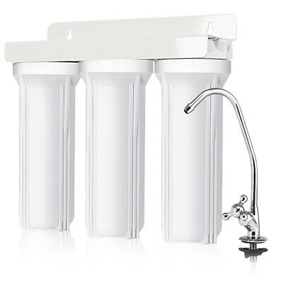 3-Stage Home Under-Sink Drinking Water Filter Purifier System w/ Chromed Faucet