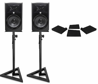 "2) JBL 308P MkII 8"" Powered Studio Reference Monitors Monitoring Speakers+Stands"