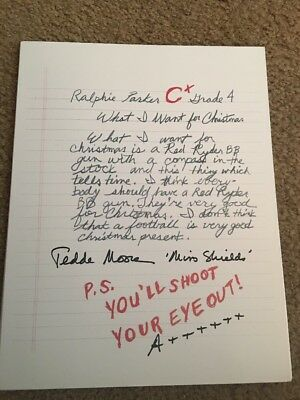 Signed Autographed Teacher Miss Shield's Tedde Moore A Christmas Story Ralphie