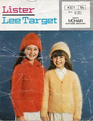 93afd06d7f910 Vintage 1970 s Lister Knitting Pattern For Child s Mohair Cardigans ...