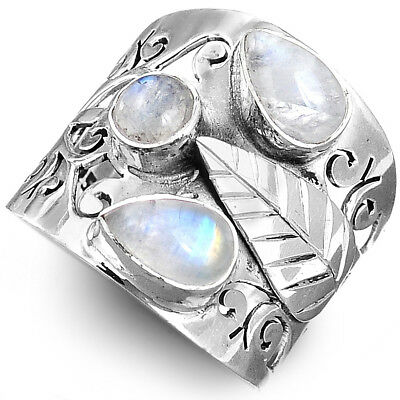 Moonstone Leaf Filigree Ring Sterling Silver 925 White Stone Women Size 6 7 8 9