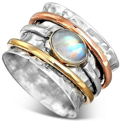 Sterling Silver 925 Moonstone Spinner Ring with Stone Meditation Women Size 7 8