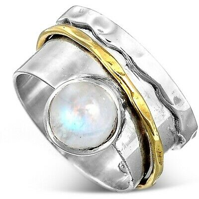 Sterling Silver 925 Moonstone Spinner Ring Wide Band Stone Two Tone Size 6 7 8