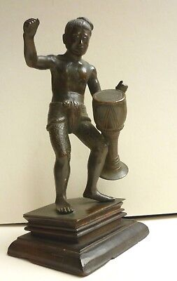 Antique Burmese Pegu Finely Cast Bronze Man Playing his Drum, c1900-1920