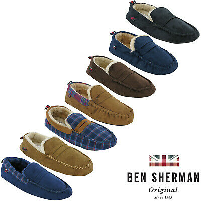 50cc83a737ba Mens Moccasin Velour Slippers Gift Ben Sherman Warm Fur Lined Flat Padded  UK7-11