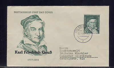 BUND: GAUSS; MiNr. 204, GÖTTINGEN 23.2.54 => FIRST DAY COVER