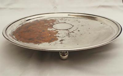Great Antique Old Sheffield Plate Silver 12 Inch Circular Salver Or Wine Tray