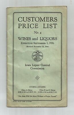 Vintage 1936 Iowa Liquor Control Commission Customers Price List Wines & Liquors