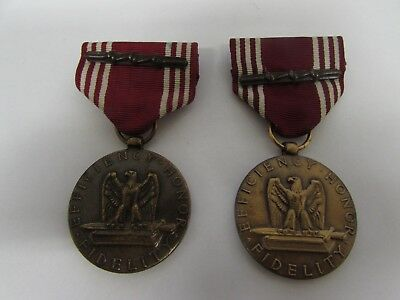 Post WWII US Army NAMED PAIR slot broach good conduct medal 4th award.