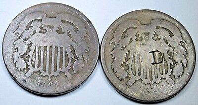 Lot of 2 1864 U.S. Two Cent Piece Penny US Antique Currency Coin USA Money
