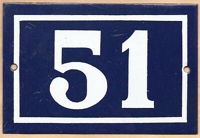 Old blue French house number 51 door gate plate plaque enamel steel metal sign