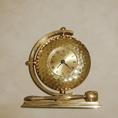 "Vintage Swiza Swiss Made 8 Day Desk Alarm Clock Chinese Gong Design ""As Is"""