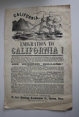 Antique Print Emigration to CALIFORNIA POSTER from Boston MA 1856