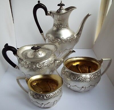 OUTSTANDING CLEAN HEAVY 1695g ANTIQUE 1894 SOLID STERLING SILVER 4 PIECE TEA SET