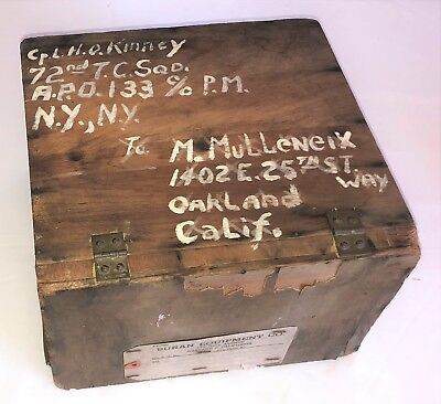 "Original WWII US Army AAF Souvenier Wood Shipping Crate ""Rations"" Mail Home Box"