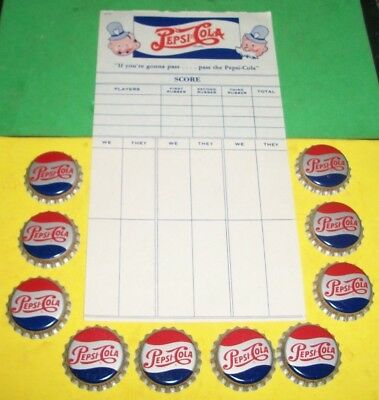 (10) Unused NOS 1950/60s Pepsi-Cola Cork Btl Caps + (1) 1940s Double Dot Pad