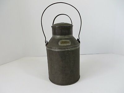 Vintage Primitive Steel Pail Can Bucket Lunch Milk Water Lid Wire Bail #7078