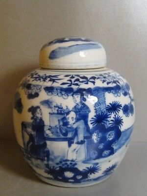 Antique Chinese Porcelain Blue & White Figural Decoration Ginger Lidded Jar