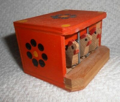 Hand Painted Wood Dollhouse Chicken Cage w/ Chickens, Germany