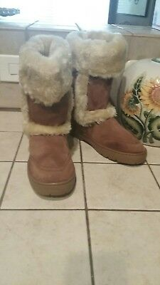 Style & Co. WITTY Womens Suede Leather Faux Fur Lined Winter Boots SZ 8M Brown