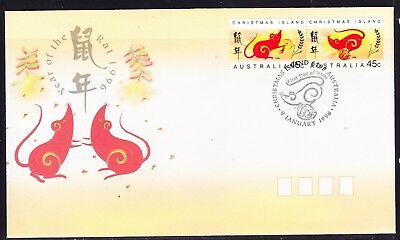 Christmas Island 1996 Year of Rat First Day Cover  APM28670