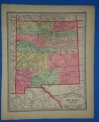 Vintage 1887 NEW MEXICO TERRITORY MAP Old Antique Original Tunison Atlas