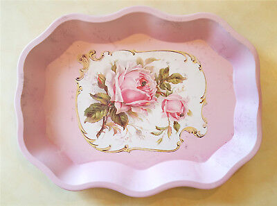 Cottage French Country Shabby Vintage Chic Rose Pink Metal Dining Serving Tray