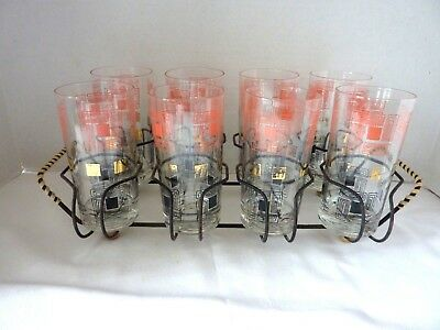 8 Vintage Mid-Century Modern Gold Trim Drinking GLASSES with Caddy