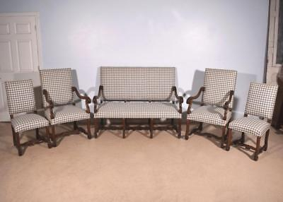 French Louis XIV Antique Salon Set- Upholstered Sofa/Settee, Chairs & Armchairs