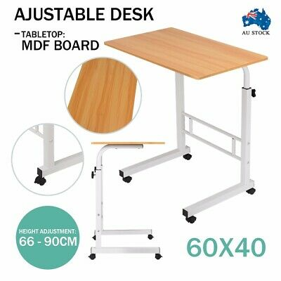 Portable Height Adjustable Mobile Wooden Laptop Study Desk Stand Table Wheels
