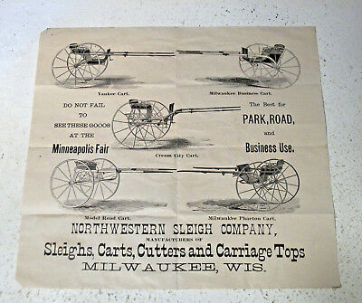 Small Broadside Advertisement Northwestern Sleigh Company Milwaukee WI Wis