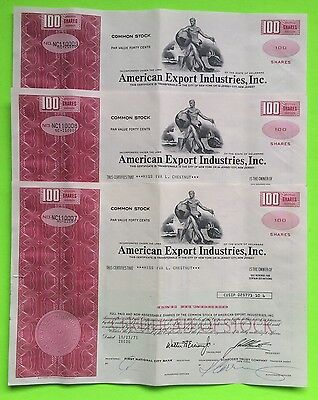 American Export Industries 3 Stock Certificates 1973 100 Shares Shipping Company