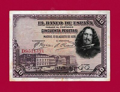 Circulated Fifty Pesetas 1928 (P-75b) Spain Banknote - Very Scarce & Collectible