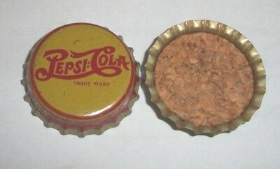 (1) Re-flared Used 1930s Era Pepsi-Cola Double Dot Yellow Cork Soda Bottle Cap