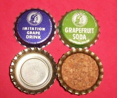 (2) Unused NOS Pokagon Grapefruit/Grape Angola Ind Cork/Plastic Soda Btl Caps