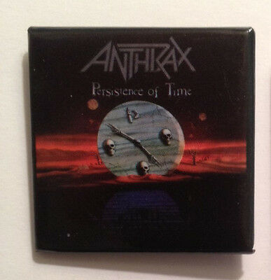 """Anthrax """"Persistence of Time"""" Album Pin-Back Button - 1991 Original Collectible"""