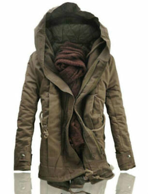 Winter Mens Military Trench Coat Ski Jacket Hooded Parka Thick Cotton Coat