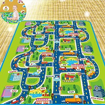 2 Size City Traffic Road Floor Area Rug Baby Child Play Mat Room Bedroom Carpet