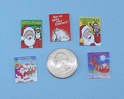 Adorable Set of 5 Dollhouse Miniature Children's Christmas Books #HBS10