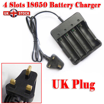 18650 3.7V Li-ion Rechargeable 4 Slots Battery 4x 3.7v 18650 Charger Plug #UK
