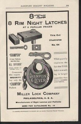 1903 Miller Lock Rim Night Latch Champion Security Lock10099