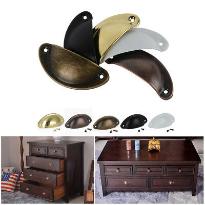 10Pcs Retro Vintage Shell Cupped Cup Pull Wardrobe Drawer Cupboard Knobs Handles