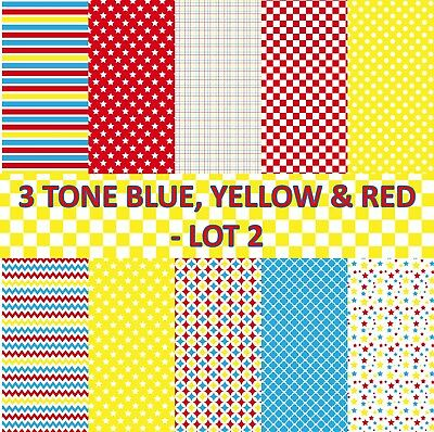 3 TONE BLUE, YELLOW & RED SCRAPBOOK PAPER - LOT 2 - 10 x A4 pages
