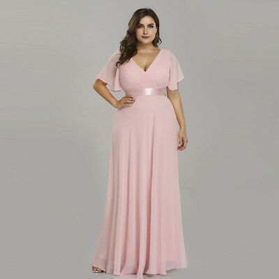 0b3c67eee27 Ever-Pretty Plus Size Bridesmaid Dresses Pink Long Evening Prom Party Gown  09890