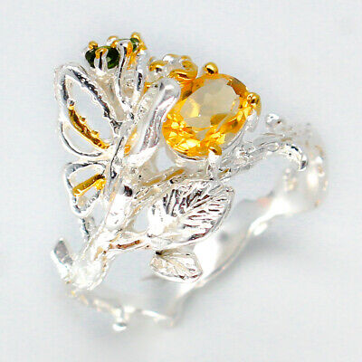 VV Cute Natural Citrine 7x5 mm. 925 Sterling Silver Ring/ RVS80